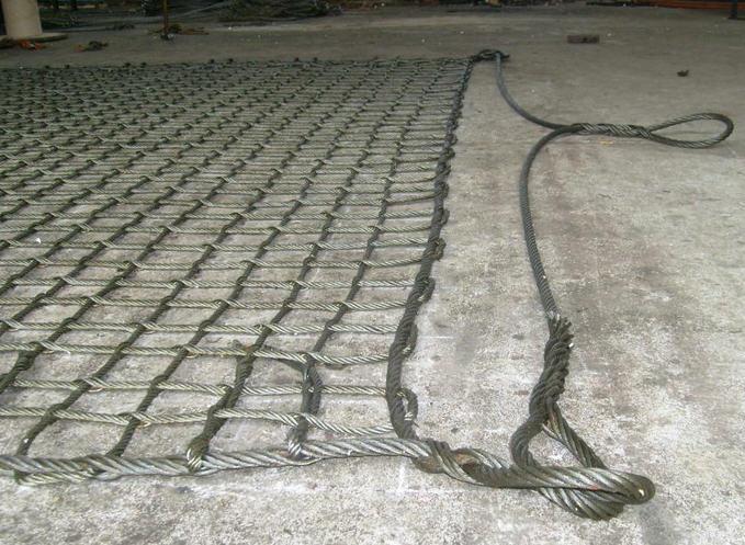 石头钢丝绳吊装网兜|轮船吊货四角钢丝绳吊装网兜